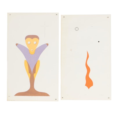 "William Downing Abstract Serigraphs ""No. 63"" and ""The Word. No. 64"""