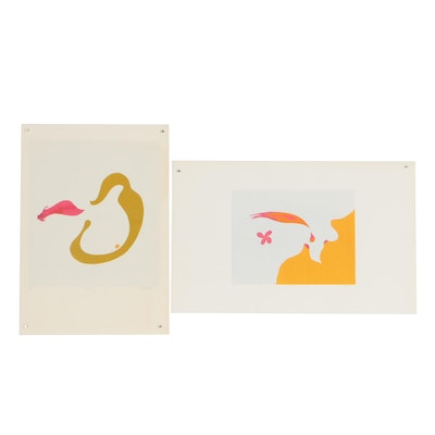 "William Downing Abstract Serigraphs ""No. 61"" and ""Nectar No. 71"""