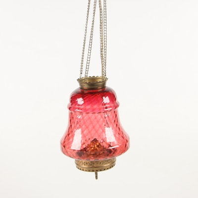 Victorian Cranberry Glass Converted Hanging Oil Lantern to Pendant Light