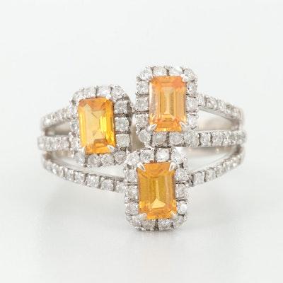 18K White Gold Orange Sapphire and Diamond Ring