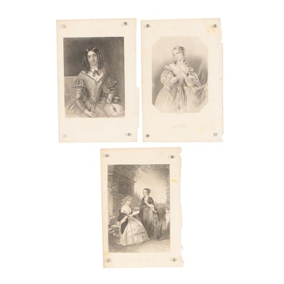 Late 20th Century Engravings of Female Portraits