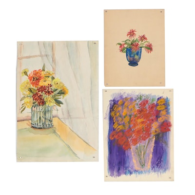 Late 20th Century Still Life Watercolor Paintings