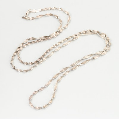 Sterling Silver Twisted Herringbone Chain Necklace