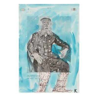 """Karl Mullen Mixed Media on Halftone after Vincent Van Gogh """"The Postman Roulin"""""""