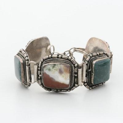 Agate and Jasper Silver Tone Panel Bracelet