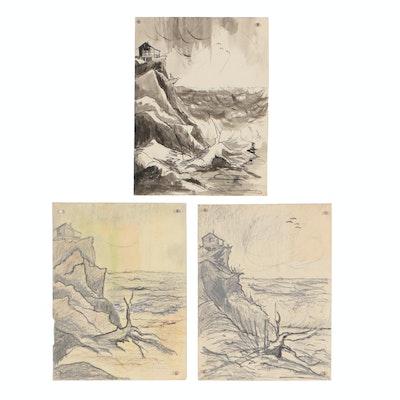 Late 20th Century Seaside Mixed Media Drawings