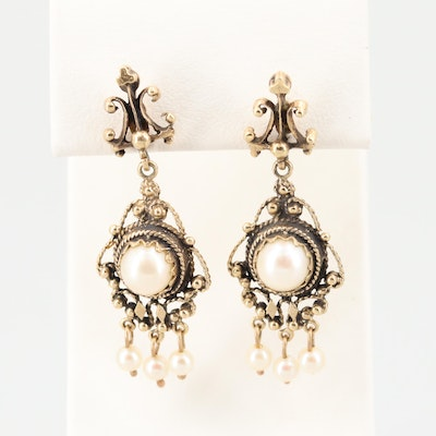 Victorian Style 14K Yellow Gold Cultured Pearl Dangle Earrings