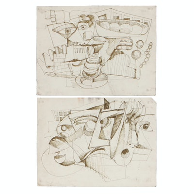 Late 20th Century Abstract Ink Drawings