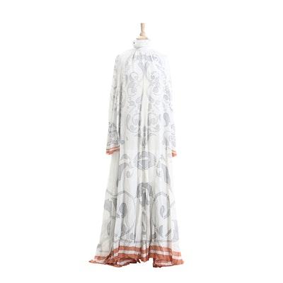 Karl Lagerfeld Designed Chloé Hand-Stenciled Silk Maxi Dress, 1970s Vintage