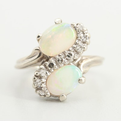 14K White Gold Opal and Diamond Bypass Ring