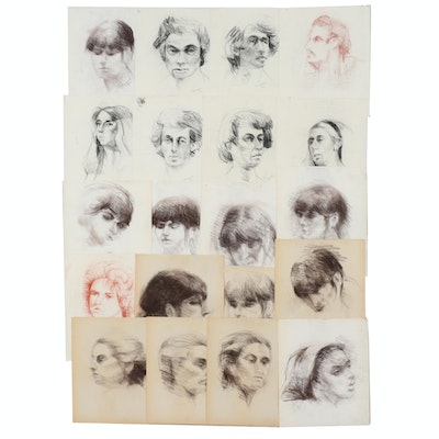 Shirley Resnick 1975-1994 Charcoal and Conté Crayon Portraits Studies