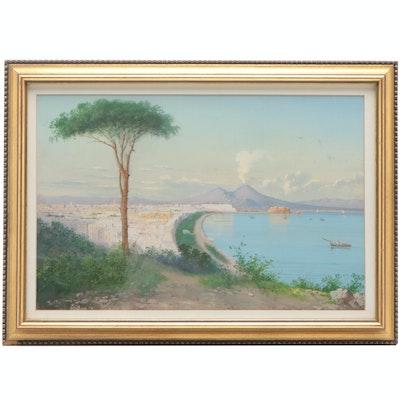 Salvatore Montullo Continental Landscape Gouache Painting