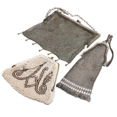 Whiting & Davis Silver Tone Mesh Bag, German Silver Mesh Bag and Beaded Bag