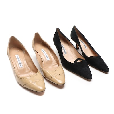 Manolo Blahnik Black Suede and Beige Patent Leather Pumps
