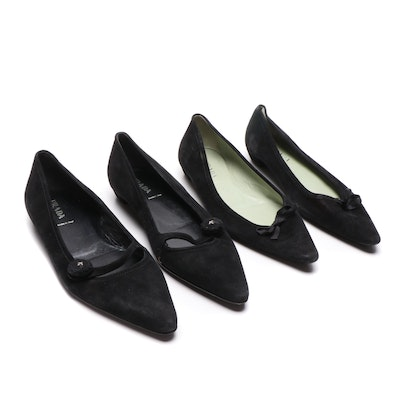 Prada Black Suede Pointed Toe Flats