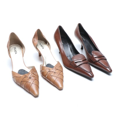 Prada Brown Leather Pumps and Tan Woven Leather D'Orsay Heels