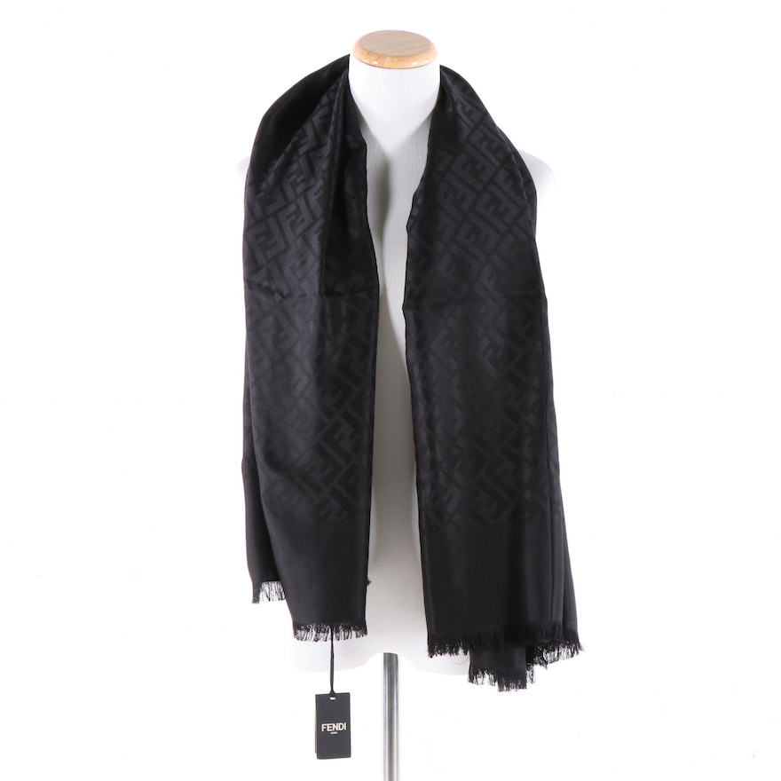 Fendi Roma Black Silk and Wool Blend Jacquard Shawl in Signature FF Pattern