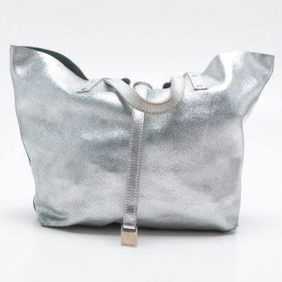 Tiffany & Co. Metallic Silver Leather and Tiffany Blue Suede Reversible Tote Bag