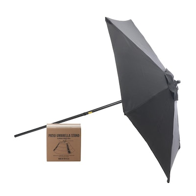 6 x 7 Foot Steel Market Patio Umbrella with Stand