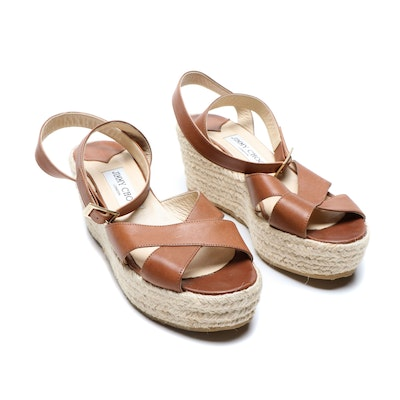Jimmy Choo London Leather and Jute Wedge Sandals