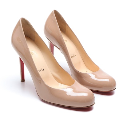 Christian Louboutin Paris Tan Patent Leather High Heel Simple Pump 100