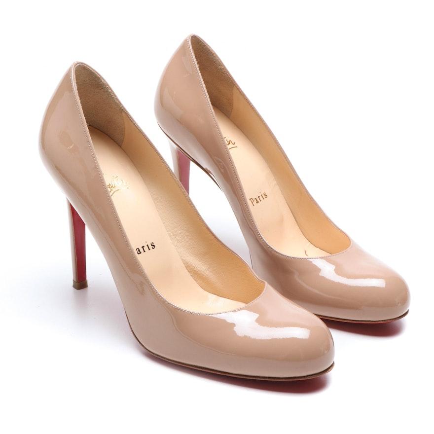 the best attitude 31375 57c59 Christian Louboutin Paris Nude Patent Leather High Heel Simple Pump 100