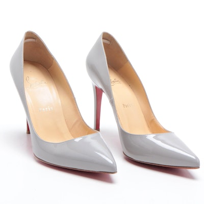 Christian Louboutin Paris Gray Patent Leather Pointed Toe High Heel Pumps