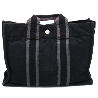 Hermès Gray and Black Fourre Tout PM Tote