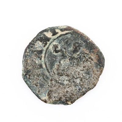 Medieval European Bronze Coin, Ca. 800 A.D.