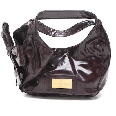 Valentino Garavani Nuage Plum Patent Leather Bow Shoulder Bag