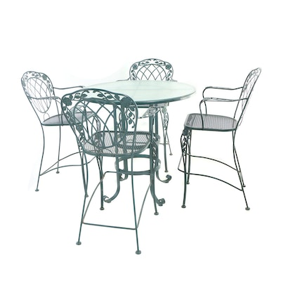 Five-Piece Green-Painted Metal Patio High-Top Dining Set