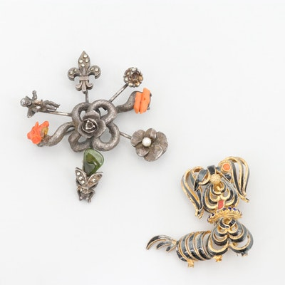 Vintage Gold Wash on 800 Silver Coral, Peridot and Enamel Brooches