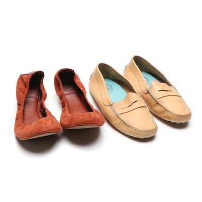 Tod's Tan Leather Driving Loafers and Tory Burch Rust Suede Ballet Flats