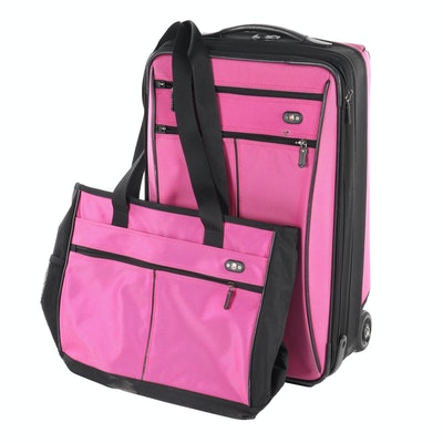 Swiss Gear Pink and Black Rolling Luggage with Matching Tote