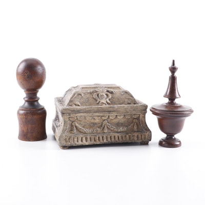 Painted Wood Jewelry Chest and Wooden Bed Finials