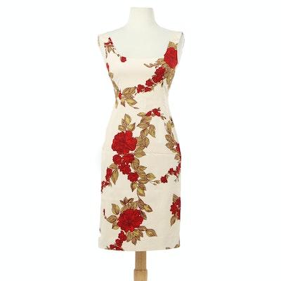 Dolce & Gabbana Floral Print Sleeveless Cocktail Dress