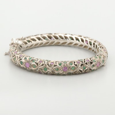 800 Silver Ruby and Emerald Hinged Bangle Bracelet