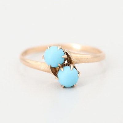 Victorian 10K Yellow Gold Imitation Turquoise Toi Et Moi Ring Including Box