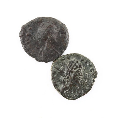 Two Ancient Roman Imperial AE4 Bronze Coins, Ca. 300 A.D.