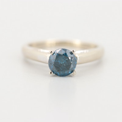 14K White Gold Blue Diamond Ring