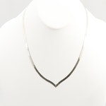 Sterling Silver Contour Herringbone Chain Necklace