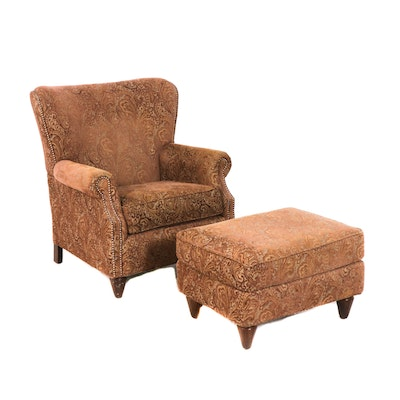 Contemporary Paisley Upholstered Arm Chair and Ottoman by Fairfield