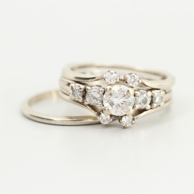 14K White Gold Diamond Ring Set