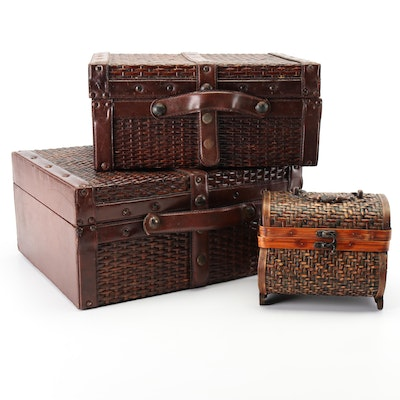 Woven Rattan Decorative Nesting Boxes and Trinket Box