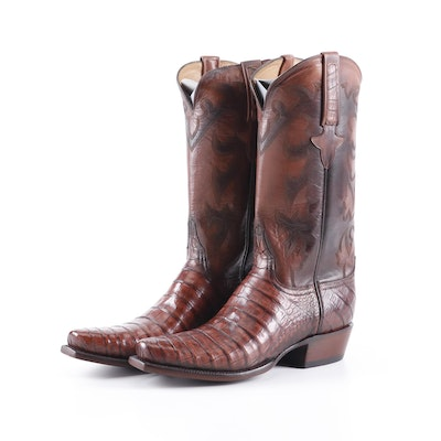 Men's Lucchese Brown Alligator Skin and Leather Square Toe Cowboy Boots