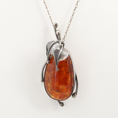 Sterling Silver Amber Converter Brooch with Figaro Chain Necklace
