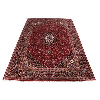 8.5' x 12' Hand-Knotted Persian Kashan Room Sized Rug, Circa 1970s