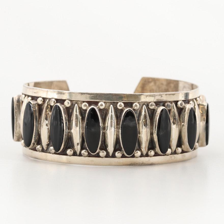 Sterling Silver Obsidian Cuff Bracelet