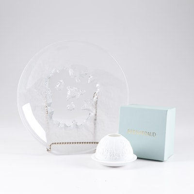"Hoya ""Snowflake"" Crystal Bowl and Bernardaud Porcelain Votive Holder"
