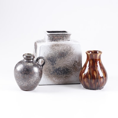 Thrown and Slip Cast Decorative Earthenware Vases